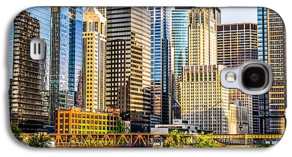Picture Of Chicago Buildings At Lake Street Bridge Galaxy S4 Case by Paul Velgos