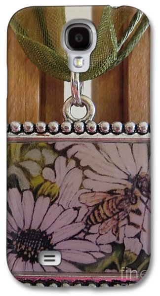 Nature Scene Jewelry Galaxy S4 Cases - Honeybee Cruzing the Daisies in a Necklace Galaxy S4 Case by Kimberlee  Baxter