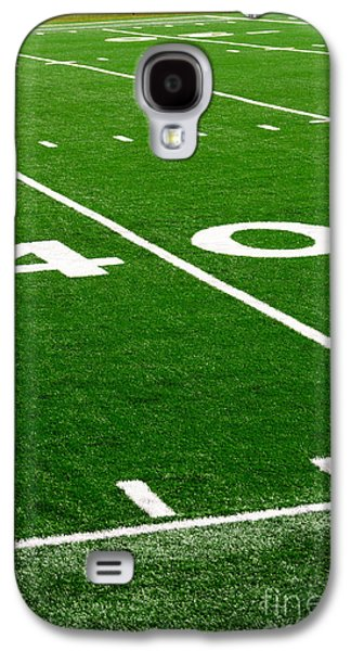 Sports Photographs Galaxy S4 Cases - Picture of Football Field 40 Yard Line Galaxy S4 Case by Paul Velgos
