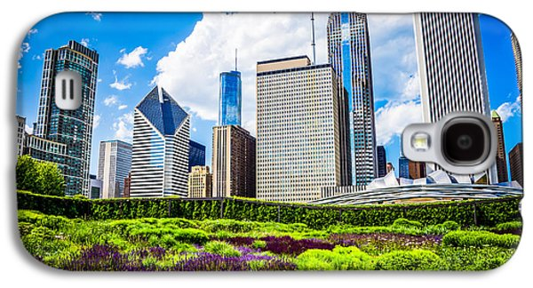 Stone Buildings Galaxy S4 Cases - Picture of Lurie Garden Flowers with Chicago Skyline Galaxy S4 Case by Paul Velgos