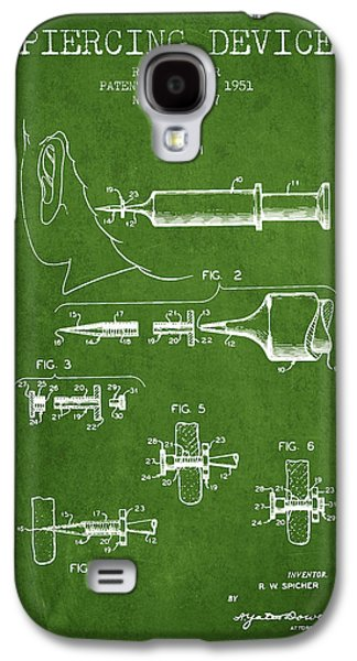 Ears Digital Art Galaxy S4 Cases - Piercing Device Patent From 1951 - Green Galaxy S4 Case by Aged Pixel