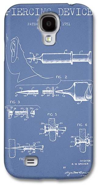 Ears Digital Art Galaxy S4 Cases - Piercing Device Patent From 1951 - Light Blue Galaxy S4 Case by Aged Pixel