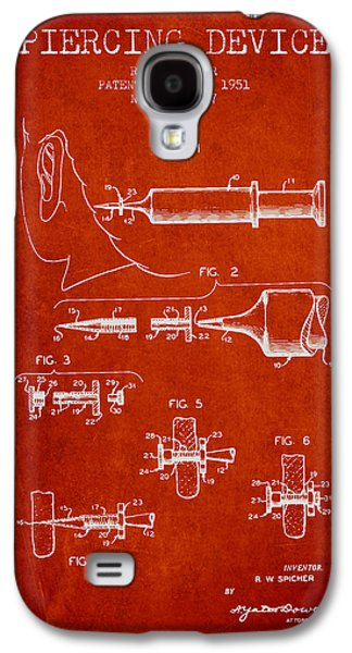 Ears Digital Art Galaxy S4 Cases - Piercing Device Patent From 1951 - red Galaxy S4 Case by Aged Pixel