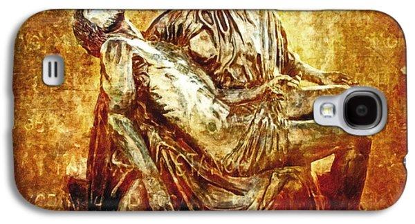 Mother Mary Digital Art Galaxy S4 Cases - Pieta Via Dolorosa 13 Galaxy S4 Case by Lianne Schneider