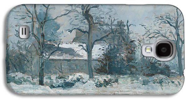 Winter Prints Galaxy S4 Cases - Piettes House at Montfoucault Galaxy S4 Case by Camille Pissarro