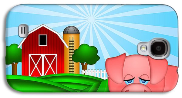 Farm Raised Pigs Galaxy S4 Cases - Pig on Green Pasture with Red Barn with Grain Silo  Galaxy S4 Case by JPLDesigns
