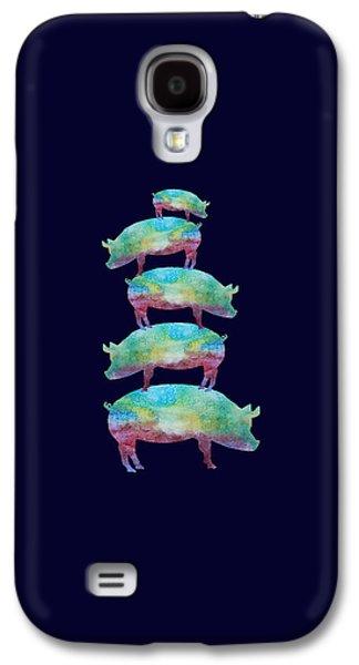 Folk Art Mixed Media Galaxy S4 Cases - Pig Stack Galaxy S4 Case by Jenny Armitage