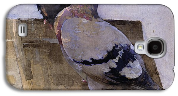 Ornithology Paintings Galaxy S4 Cases - Pigeons on the Roof Galaxy S4 Case by Joseph Crawhall