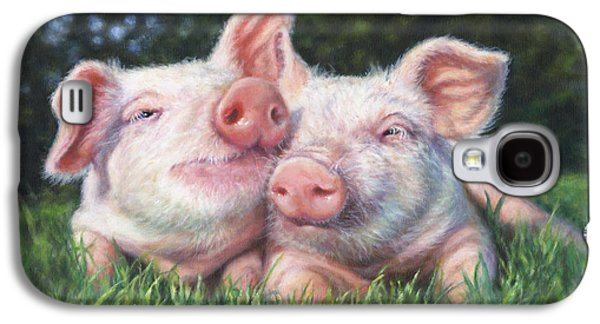 Piglets Paintings Galaxy S4 Cases - Piggy Pals Galaxy S4 Case by Donna  Hillman Walsh