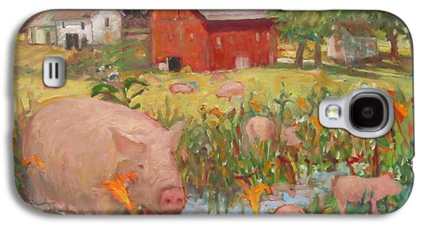 Piglets Paintings Galaxy S4 Cases - Pigs and Lilies Galaxy S4 Case by Paul Emory