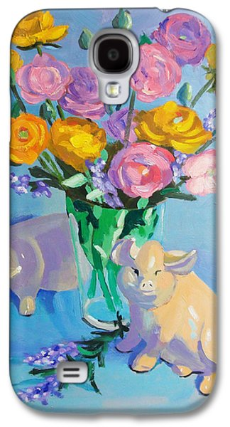 Still Life Sculptures Galaxy S4 Cases - Pigs at the Flower Market Galaxy S4 Case by Dan Redmon