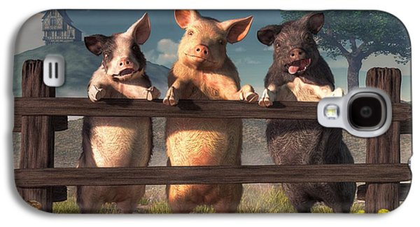 Pigs On A Fence Galaxy S4 Case by Daniel Eskridge