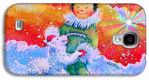 Winter Fun Paintings Galaxy S4 Cases - Pigtails And Wagging Tail Galaxy S4 Case by Hanne Lore Koehler