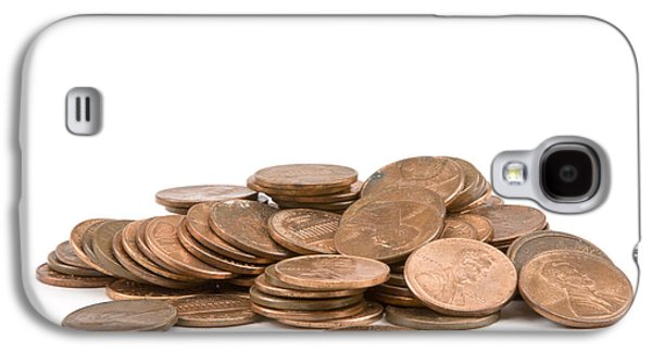 Investment Galaxy S4 Cases - Pile of American Pennies On White Background Galaxy S4 Case by Keith Webber Jr