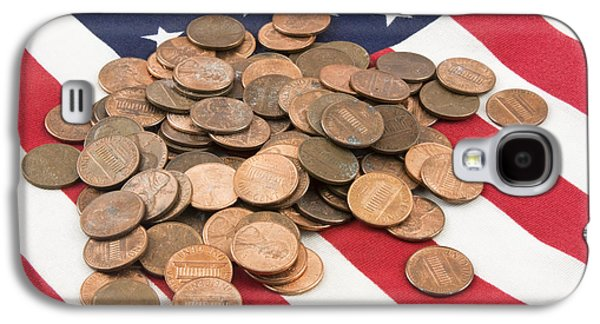 Investment Galaxy S4 Cases - Pile of Pennies On American Flag Galaxy S4 Case by Keith Webber Jr