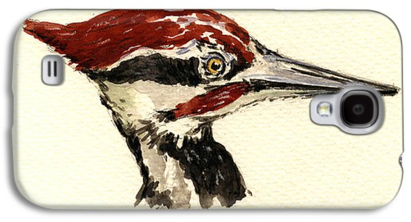 Nature Study Paintings Galaxy S4 Cases - Pileated woodpecker head study Galaxy S4 Case by Juan  Bosco
