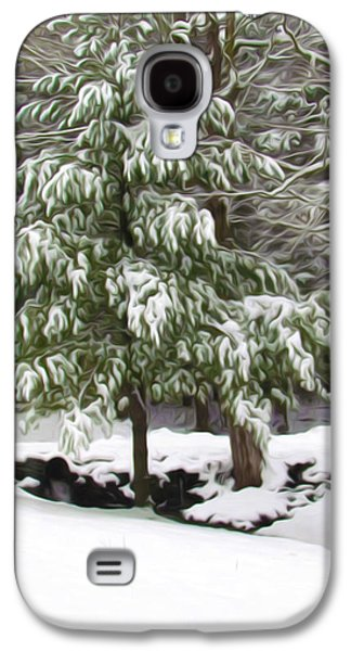 Twiggy Galaxy S4 Cases - Pine tree covered with snow 2 Galaxy S4 Case by Lanjee Chee