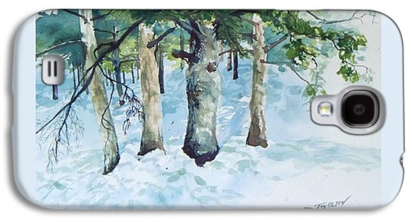 New England Snow Scene Paintings Galaxy S4 Cases - Pine trees and snow Galaxy S4 Case by Joy Nichols