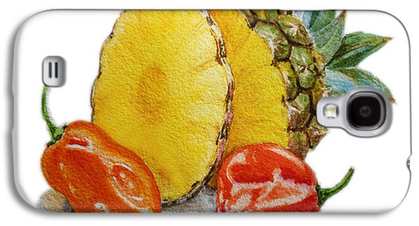 Pepper Paintings Galaxy S4 Cases - Pineapple And Habanero Peppers  Galaxy S4 Case by Irina Sztukowski