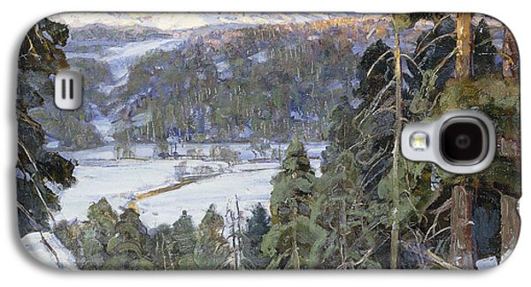 Concept Paintings Galaxy S4 Cases - Pines in Winter Galaxy S4 Case by George Gardner Symons