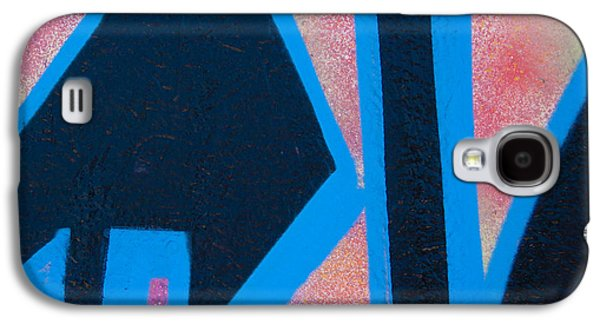 Urban Photographs Galaxy S4 Cases - Pink and Blue Graffiti Arrow Square Galaxy S4 Case by Carol Leigh
