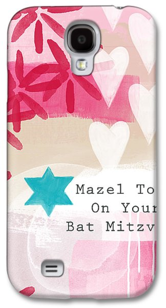 Pride Galaxy S4 Cases - Pink and White Bat Mitzvah- Greeting Card Galaxy S4 Case by Linda Woods
