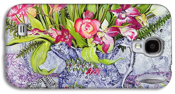 Pink And White Tulips Orchids And Blue Antique China Galaxy S4 Case by Joan Thewsey