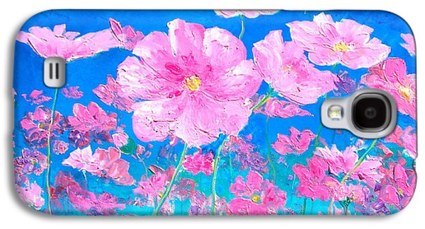 Cosmos Paintings Galaxy S4 Cases - Pink Cosmos Galaxy S4 Case by Jan Matson