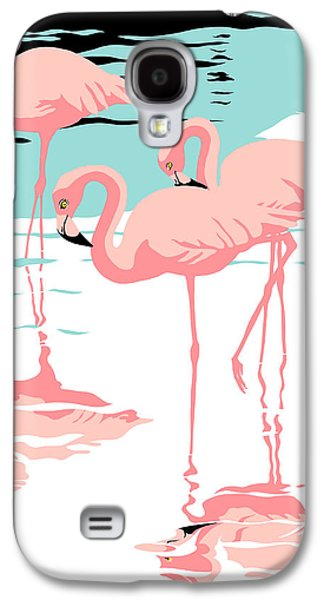 Retro Antique Galaxy S4 Cases - Pink Flamingos tropical 1980s abstract pop art nouveau graphic art retro stylized florida print Galaxy S4 Case by Walt Curlee