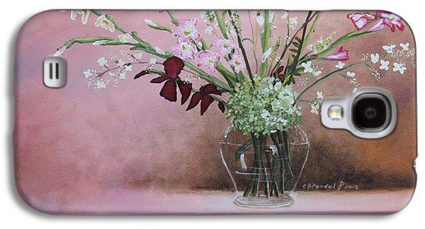 Gladiolas Paintings Galaxy S4 Cases - Pink Gladiolas Galaxy S4 Case by Cecilia  Brendel