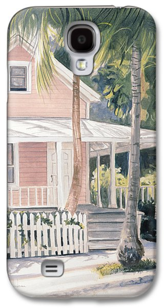 Fence Paintings Galaxy S4 Cases - Pink House Galaxy S4 Case by Lucie Bilodeau