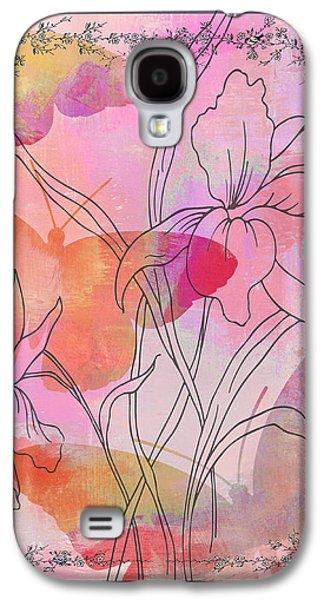 Surtex Licensing Galaxy S4 Cases - Pink Iris Butterflies Floral Watercolor Art Print Galaxy S4 Case by ArtyZen Studios - ArtyZen Home