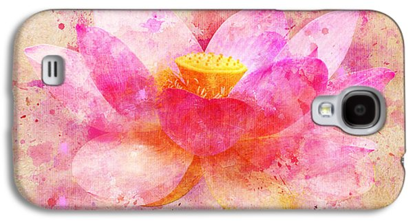 Colorful Abstract Digital Art Galaxy S4 Cases - Pink Lotus Flower Abstract Artwork Galaxy S4 Case by Nikki Marie Smith