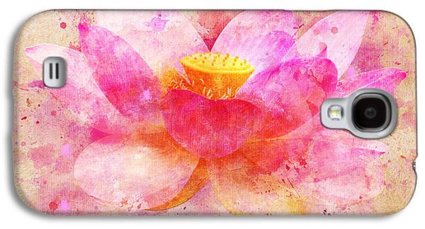 Colorful Abstract Digital Galaxy S4 Cases - Pink Lotus Flower Abstract Artwork Galaxy S4 Case by Nikki Marie Smith
