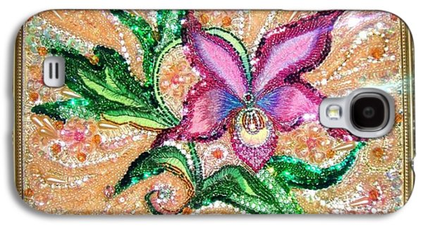 Beadwork Jewelry Galaxy S4 Cases - Pink Orchid Fancy Bead Embroidery Galaxy S4 Case by Sofia Metal Queen