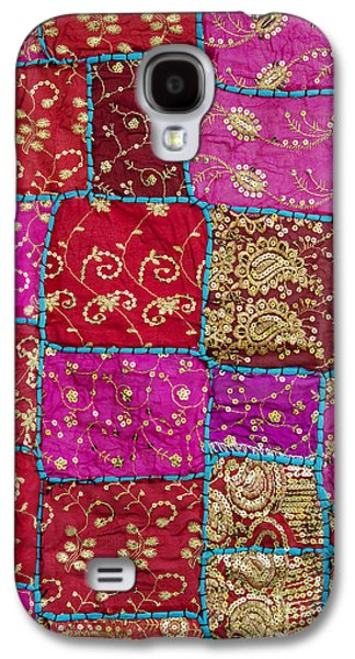 Stitch Galaxy S4 Cases - Pink Patchwork Indian Wall Hanging Galaxy S4 Case by Tim Gainey