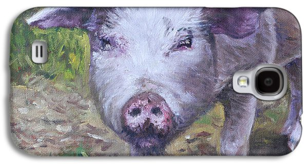 Piglets Paintings Galaxy S4 Cases - Pink Pig Portrait Galaxy S4 Case by Martin Davey
