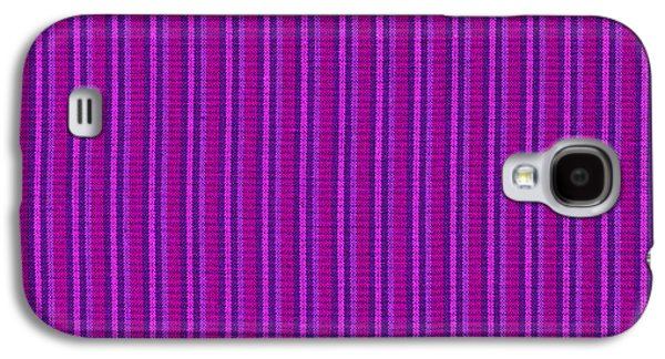 Textured Digital Art Galaxy S4 Cases - Pink Purple And Black Striped Textile Background Galaxy S4 Case by Keith Webber Jr