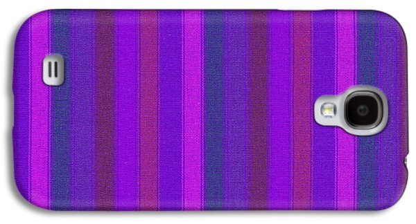 Textured Digital Art Galaxy S4 Cases - Pink Purple And Blue Striped Textile Background Galaxy S4 Case by Keith Webber Jr