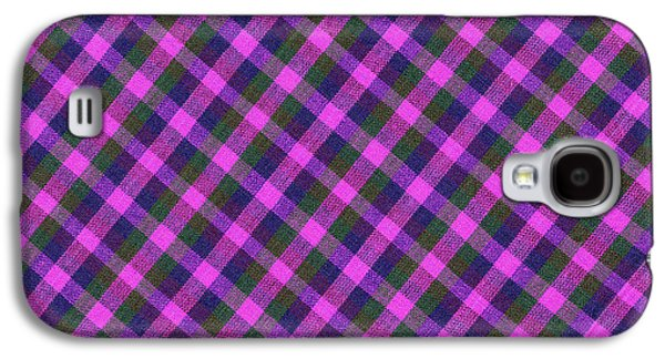 Diagonal Galaxy S4 Cases - Pink Purple and Green Diagonal Plaid Textile Background Galaxy S4 Case by Keith Webber Jr