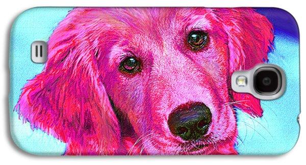 Puppy Digital Art Galaxy S4 Cases - Pink Retriever Galaxy S4 Case by Jane Schnetlage