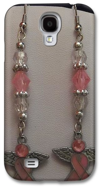 Flower Jewelry Galaxy S4 Cases - Pink Ribbon Dangle Earrings Galaxy S4 Case by Kimberly Johnson