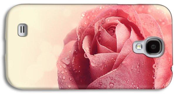 Nature Scene Pyrography Galaxy S4 Cases - Pink Rose Galaxy S4 Case by Jelena Jovanovic