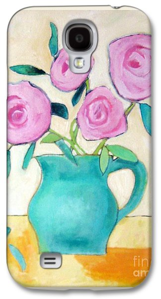 Old Pitcher Paintings Galaxy S4 Cases - Pink Roses In A Green Vase Galaxy S4 Case by Venus