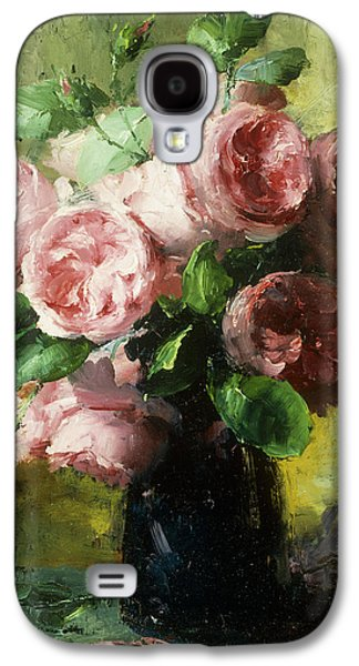 Botanical Galaxy S4 Cases - Pink Roses in a Vase Galaxy S4 Case by Frans Mortelmans