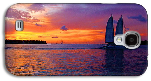 Sailboats In Water Galaxy S4 Cases - Pink Sunset in Key West Florida Galaxy S4 Case by Susanne Van Hulst
