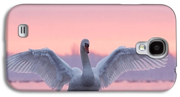 Bird Galaxy S4 Cases - Pink Swan Galaxy S4 Case by Roeselien Raimond
