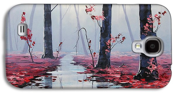 Salmon Paintings Galaxy S4 Cases - Pink Trees River Landscape Galaxy S4 Case by Graham Gercken