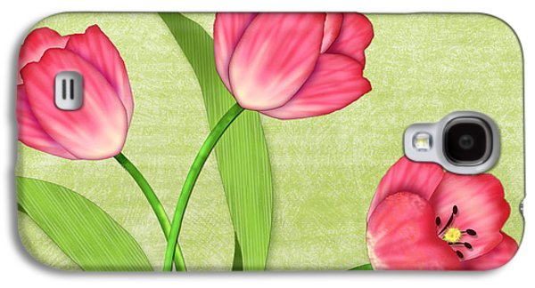 Posters On Mixed Media Galaxy S4 Cases - Pink Tulips in Pot Galaxy S4 Case by Valerie   Drake Lesiak