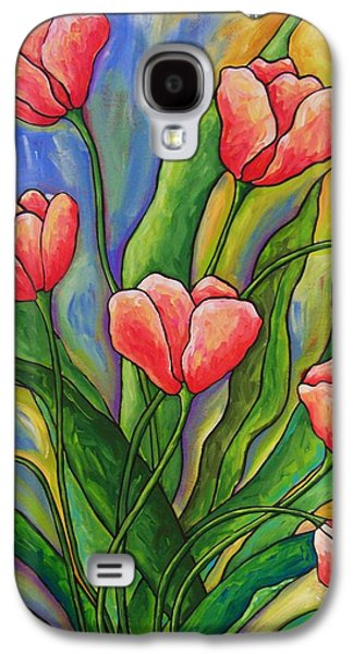Abstract Nature Reliefs Galaxy S4 Cases - Pink Tulips Galaxy S4 Case by Peggy Davis